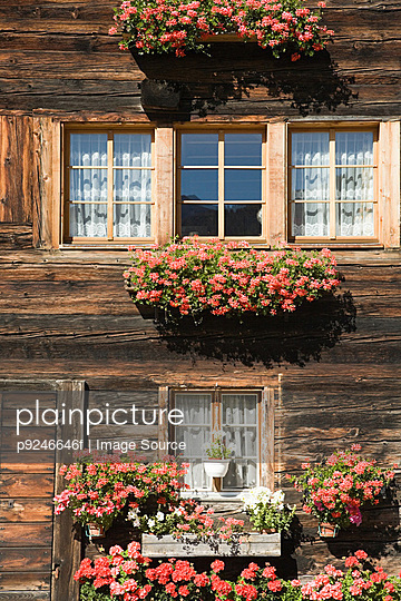 Flowers outside a swiss house - p9246646f by Image Source