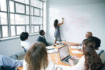 Businesswoman writing on whiteboard in meeting - p555m1504072 by John Fedele
