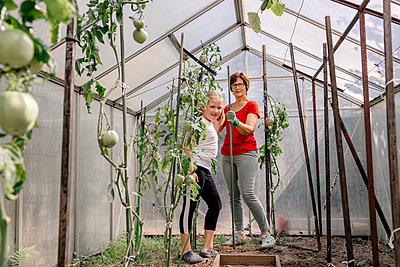 Grandmother with granddaughter in greenhouse at vegetable garden - p300m2277000 by Oxana Guryanova
