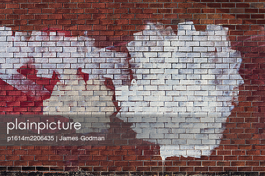 Wall with abstract painted pattern - p1614m2206435 by James Godman