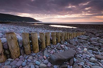 Sunset over Bossington Beach, Exmoor, Somerset, England, United Kingdom, Europe - p871m962074 by Adam Burton