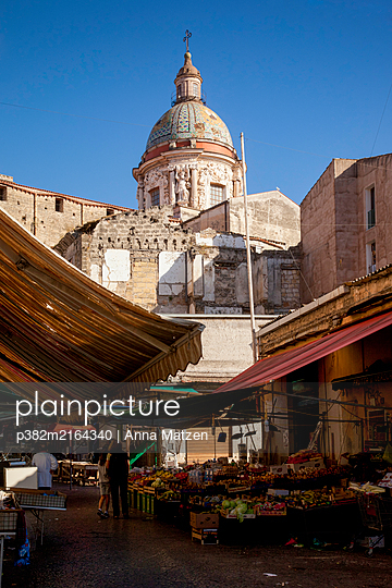 Market at the Cathedral of Maria Santissima Assunta - p382m2164340 by Anna Matzen
