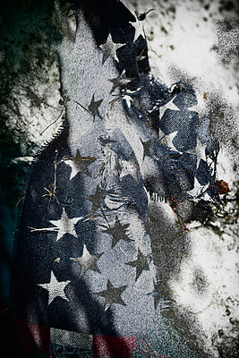 Crumpled and frayed American flag - p301m960803f by Michael Mann