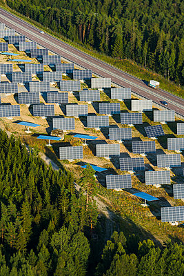 Solar farm near road - p312m1107603f by Hans Berggren