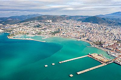 Coastal area, Kusadasi with harbour, Turkey, drone photography - p1332m2286053 by Tamboly