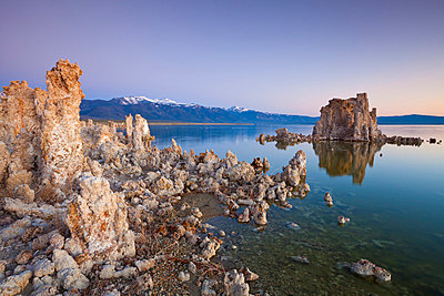 Tufa spires and tower formations of calcium carbonate at sunset, Mono Lake, South Tufa Reserve, Mono Basin Scenic Area, Lee Vining, Inyo National Forest Scenic Area, California, United States of America, North America - p8713767 by Neale Clark