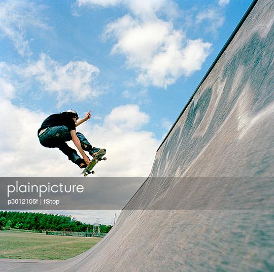Skateboarder, mid-air