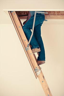 Man climbing up a ladder into an attic  - p1617m2278915 by Barb McKinney