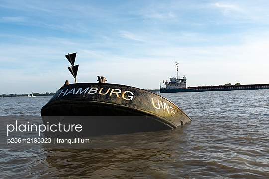 Shipwreck as a monument on Elbe river - p236m2193323 by tranquillium