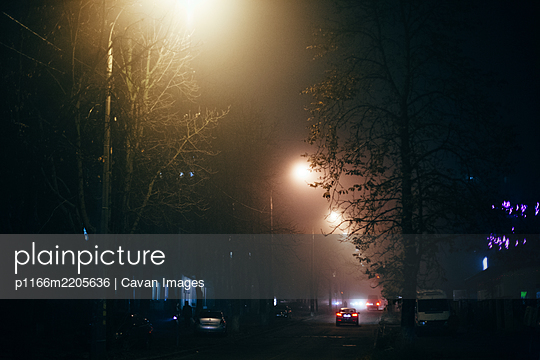Foggy city street at night during autumn - p1166m2205636 by Cavan Images