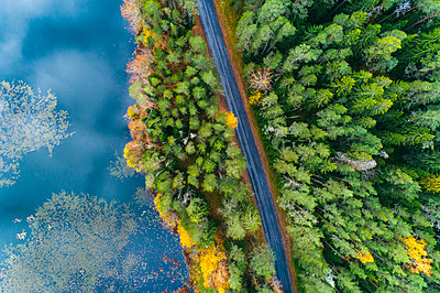 Aerial view of a road by Viitna lake in Lahemaa area - p1332m2203285 by Tamboly