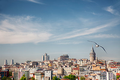 Istanbul city skyline under blue sky, Turkey - p555m1419734 by Spaces Images