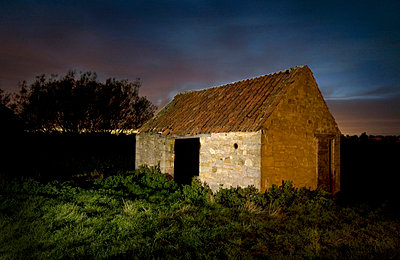 Barn at Night - p1072m829021 by Graeme Ruddick