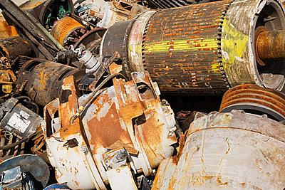 Motors at scrap yard - p9243851f by Image Source