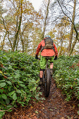 Caucasian man riding bicycle in forest - p555m1491076 by Kolostock