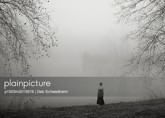 Girl Waiting in Fog - p1503m2015978 by Deb Schwedhelm