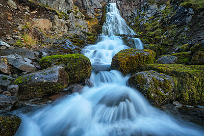 Waterfall along the road; West Fjords, Iceland - p442m2008870 by Robert Postma