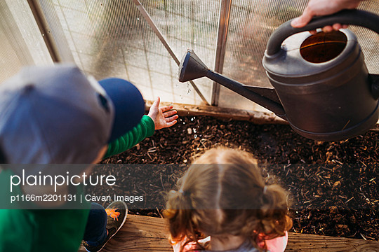 Two young children helping mom water plants in backyard greenhouse - p1166m2201131 by Cavan Images