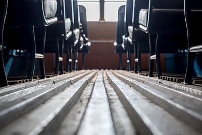 Vintage double decker bus interior - p1228m1466083 by Benjamin Harte