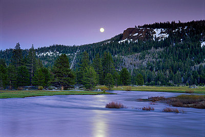 Moon rising over mountain river valley - p3433492 by Jerry Dodrill