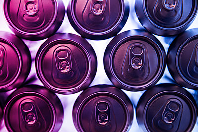 Close-up of drink cans in refrigerator - p1166m1544025 by Cavan Images