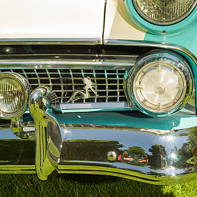 classic car bumper and grill with female figure - p1201m2013651 by Paul Abbitt