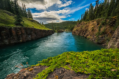 Water flows through Miles Canyon; Whitehorse, Yukon, Canada - p442m1442415 by Robert Postma