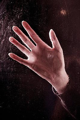 Hand an Fensterscheibe - p971m989009 von Reilika Landen