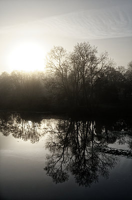 France, Sunrise by the river - p1402m2222614 by Jerome Paressant