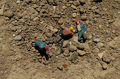 Toys in dry soil - p681m2263713 by Sandrine Léon