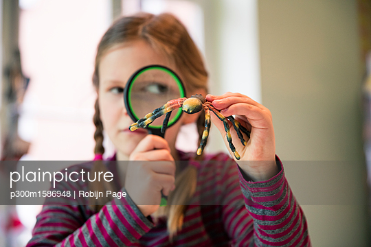 Girl examining fake spider with magnifying glass - p300m1586948 von Robijn Page