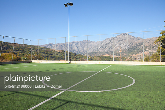 Football ground in the mountains of Crete - p454m2196006 by Lubitz + Dorner