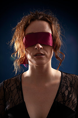 Woman with Blindfold - p1248m2063470 by miguel sobreira