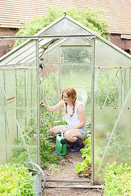 Frau arbeitet im Gewächshaus - p606m938057 von Iris Friedrich