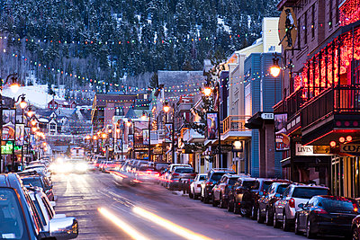 Long exposure of Main St. in Park City, Utah. - p343m1167990 by Rob Hammer