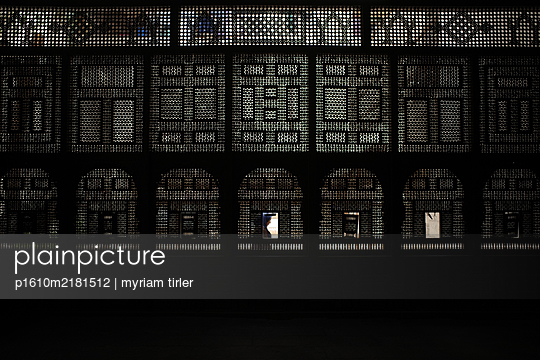 Silhouette of a woman through moucharaby - p1610m2181512 by myriam tirler