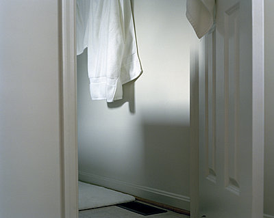 Towel hanging in the bathroom - p1409m1465893 by margaret dearing