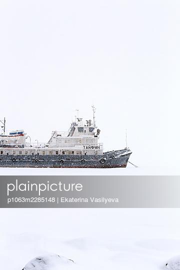 Russia, Ship in the snow  - p1063m2285148 by Ekaterina Vasilyeva