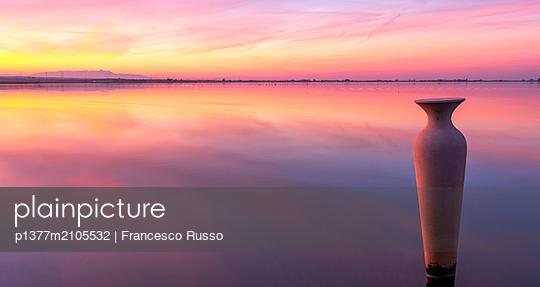 Italy, Apulia, Foggia district, Gargano, Lesina lake, Lesina lake at sunset - p1377m2105532 by Francesco Russo