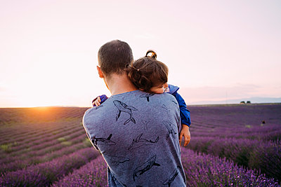 France, Valensole, back view of father holding his little daughter in front of lavender field at sunset - p300m2023734 by Gemma Ferrando