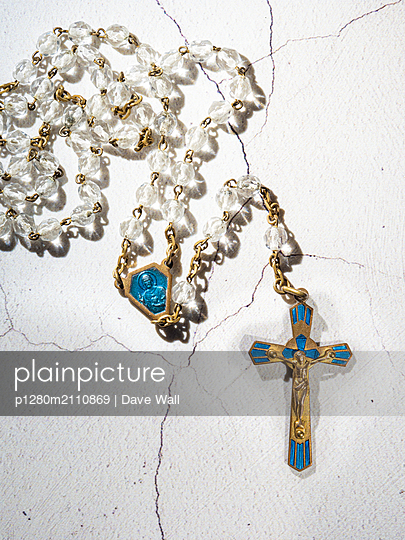 Crucifix and Rosary Beads - p1280m2110869 by Dave Wall