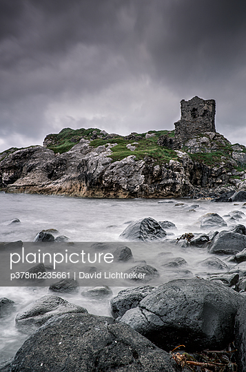 Kinbane Castle on coastline - p378m2235661 by David Lichtneker