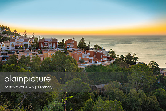 Spain, Malaga, View of the mediterranean sea at sunrise  - p1332m2204575 by Tamboly