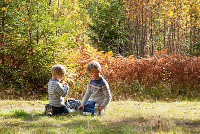 Brothers having picnic in forest on sunny day - p429m2145509 by Tiina & Geir