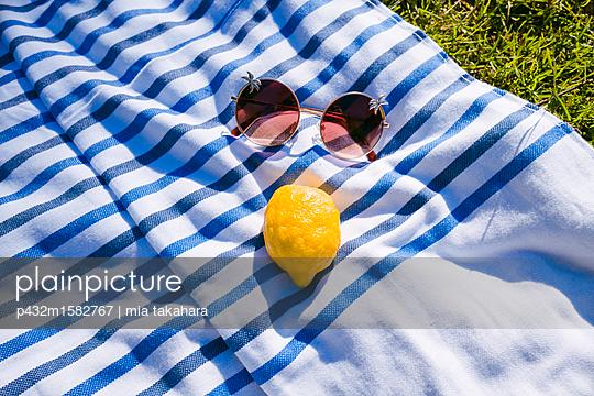 Picknickdecke mit Zitrone und Sonnenbrille - p432m1582767 von mia takahara