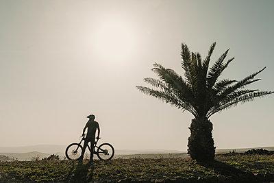 Spain, Lanzarote, mountainbiker on a trip next to palm tree - p300m2102573 by Hernandez and Sorokina