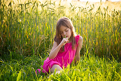 Portrait of young girl wearing vibrant pink dress sitting in front of rye field in summer - p300m2132463 by Larissa Veronesi