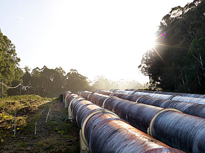 Landscape with four hydroelectric industrial pipes, Tasmania - p429m1180962 by Elke Meitzel