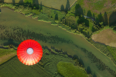 Balloon trip over green landscapes - p300m980709f by Gerald Nowak