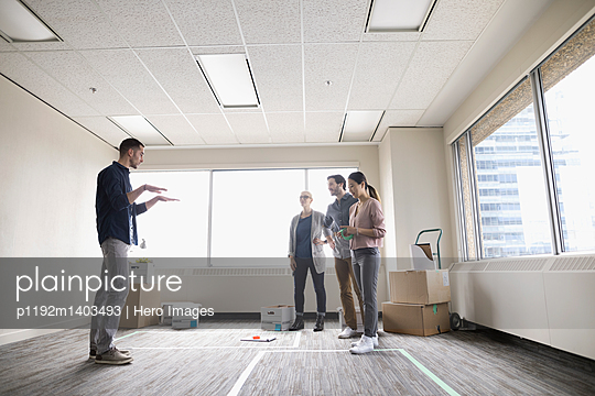 Business people planning new office space
